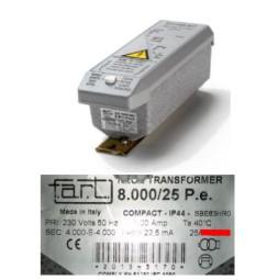 TRASFORMATORE PER INSEGNE NEON 8000 VOLT 25 mA IP 44