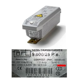 TRASFORMATORE PER INSEGNE NEON 9000 VOLT 25 mA IP 44