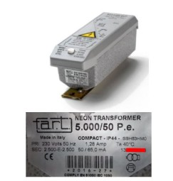 TRASFORMATORE PER INSEGNE NEON 5000 VOLT 50 mA IP 44  RESIN BLOCK