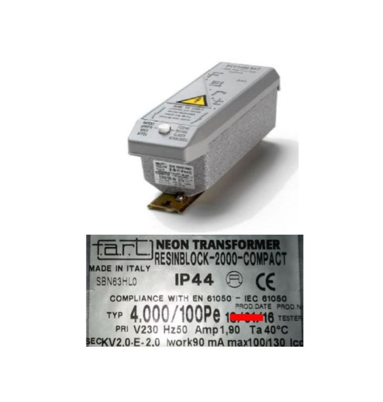 TRASFORMATORE PER INSEGNE NEON 4000 VOLT 100 mA IP 44 RESIN BLOCK