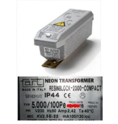 TRASFORMATORE PER INSEGNE NEON 5000 VOLT 100 mA IP 44 RESIN BLOCK