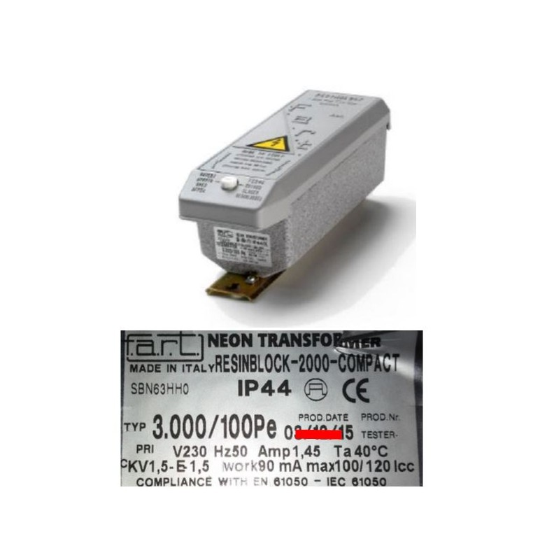 TRASFORMATORE PER INSEGNE NEON 3000 VOLT 100 mA IP 44 RESIN BLOCK