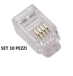 CONNETTORE TELEFONICO A CRIMPARE RJ11 4P4C set 10 pz