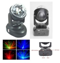 Testa mobile a LED effetto disco, CON 2 MOTORI